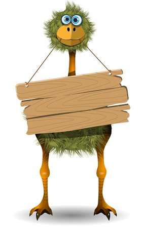 posted: illustration funny ostrich with a wooden plate Illustration