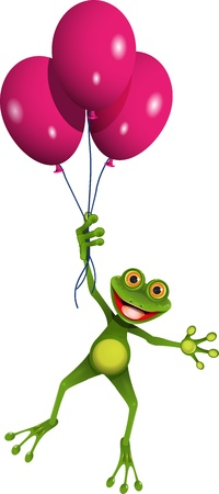 illustration flying fun green frog in balloons Vector