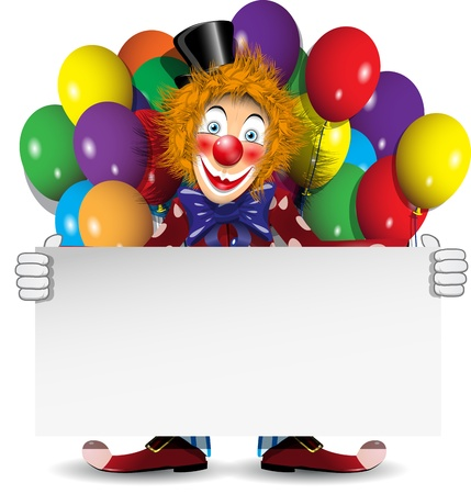 redheaded: illustration redhead clown with a banner and balloons Illustration