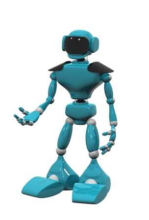 3d illustration of a blue robot on white background illustration