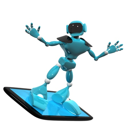3d illustration of a blue robot on a smartphone on white background