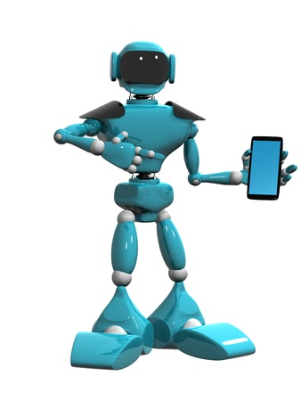 3d illustration of a blue robot and phone on white background illustration