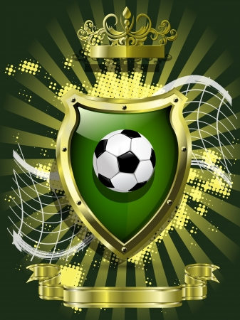 illustration soccer ball on background of the shield Vector