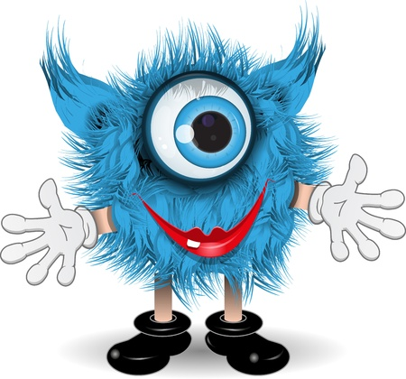 surprisingly: illustration fairy shaggy blue monster with blue eyes