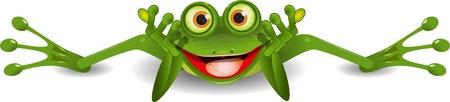 illustratie grappige groene kikker is op zijn buik Vector Illustratie