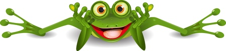 illustration funny green frog is on his stomach Vector