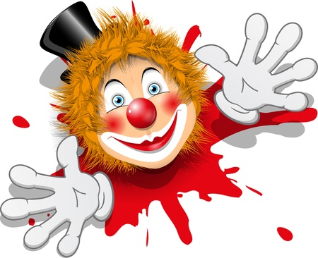 illustration redheaded clown face in black hat