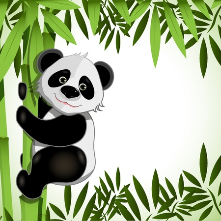 panda bear: illustration cheerful big panda on green bamboo