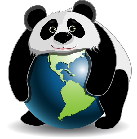 illustration panda on the globe on a white background