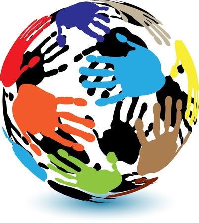 fraternidad: colorida ilustración de una mano humana en la forma de una pelota