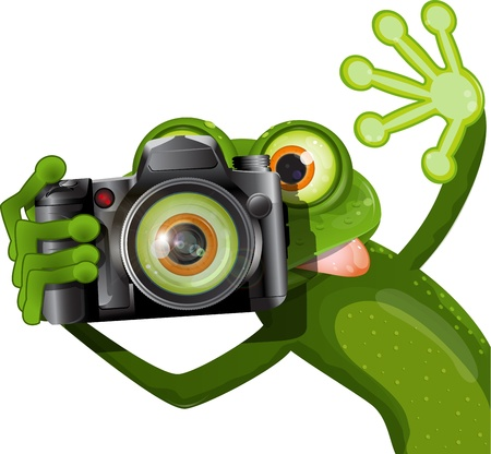 illustration merry green frog with a camera