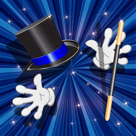 briliance: illustration, magic cylinder and magic stick on turn blue