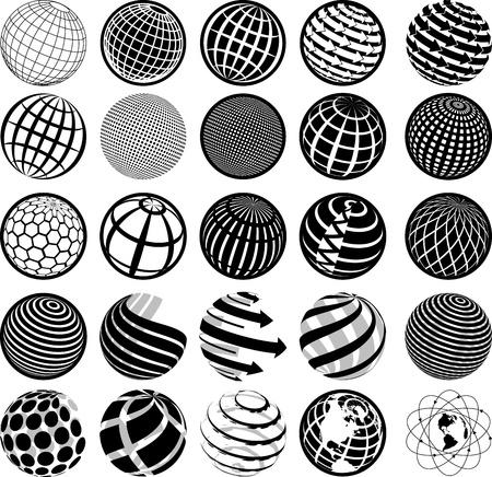 illustration of black and white icons globe Illustration