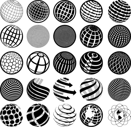 protect icon: illustration of black and white icons globe Illustration