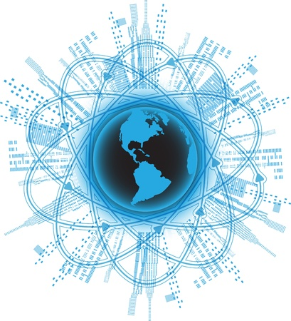 company board: illustration blue globe on a blue background