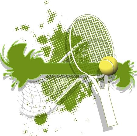 추상 녹색 배경에 그림 테니스 공
