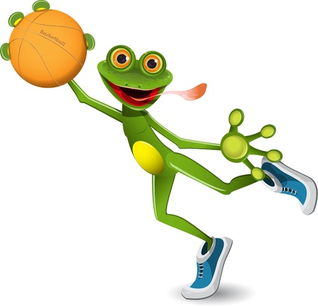 illustration merry green frog with a basketball Vector