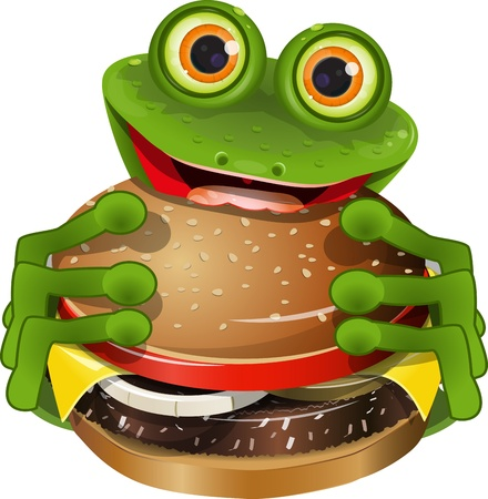amphibious: illustration merry green frog with a delicious cheeseburger