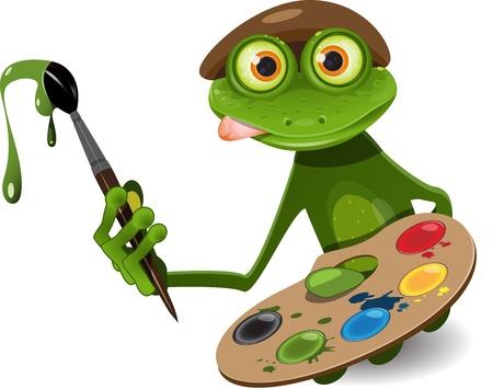 rana caricatura: ilustración artista rana verde con paleta y pincel