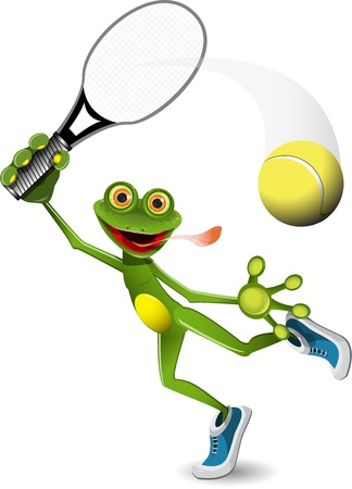 triton: illustration a merry green frog tennis player Illustration