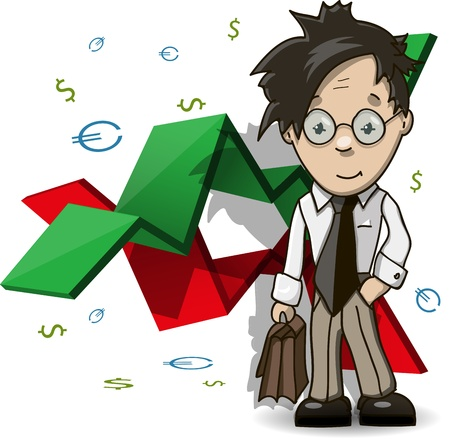 personal organizer: illustration of the analyst with portfolio on a background graphic