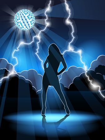 illustration, abstract background with woman in night club Vector