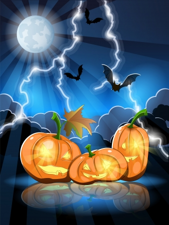 denoted: illustration denoted holiday halloween, effigy with pumpkins