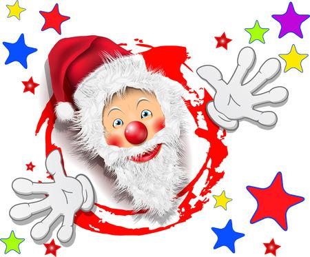 revelry: illustration, merry santa claus with stars on white background Illustration