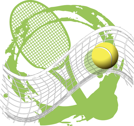 illustration tennis ball on abstract green background Stock fotó - 23074357