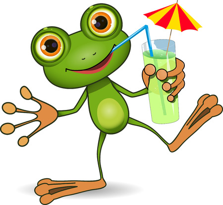 amphibious: illustration of cheerful frog and a cocktail