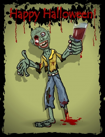 illustration of a zombie with a glass Vector