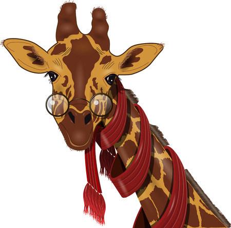 illustration of giraffe in a red scarf
