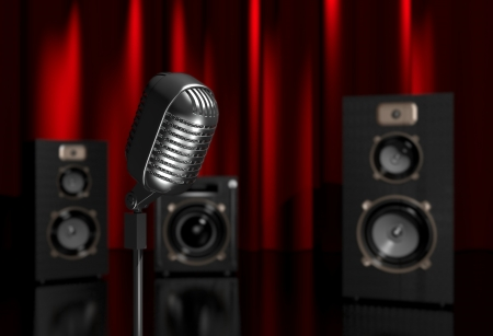 loudly: 3d illustration of a microphone and speakers on scene Stock Photo