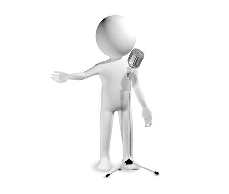 stage actors: 3d illustration of a man with microphone Stock Photo