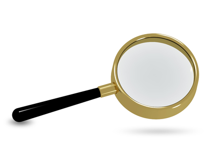 chancellery: 3d illustration of a magnifying glass on a white background