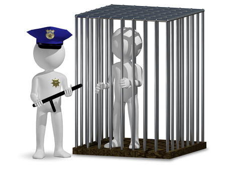 law and order: 3d illustration of abstract cop and prisoner