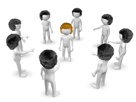 hatred: 3d illustration of redhead surrounded by brunettes Stock Photo
