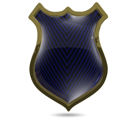 specials: 3d illustration of an abstract metallic blue shield Stock Photo