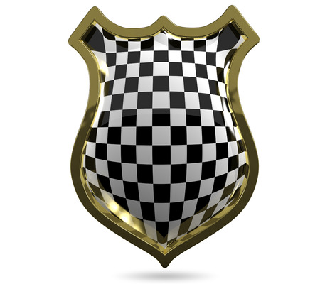 specials: 3d illustration of an abstract metallic chess shield