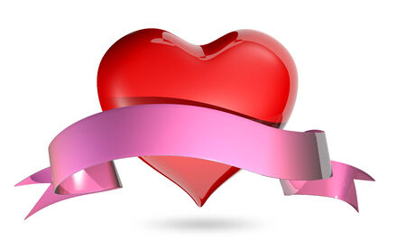 3d illustration symbolic red heart with ribbon on a white