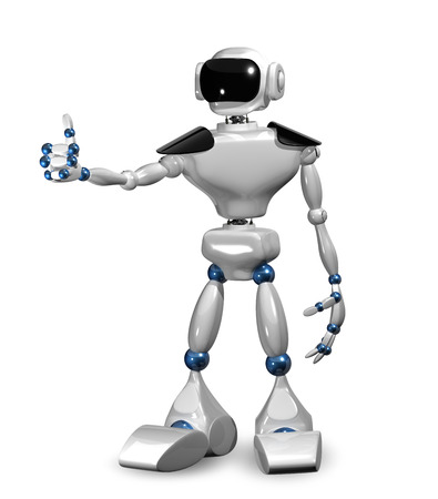 humanoid: 3d illustration of a white robot on white background