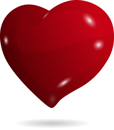 fondness: illustration symbolic red heart on a white background