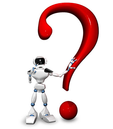 3d illustration of a robot and a question mark illustration