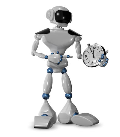 3d illustration of  robot and a watch  illustration