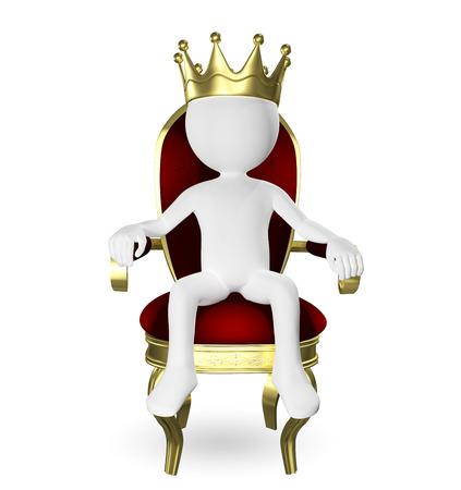 trono: 3d ilustración abstracta de un hombre en el trono