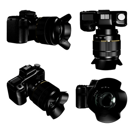 four species: 3d illustration of a camera in four species