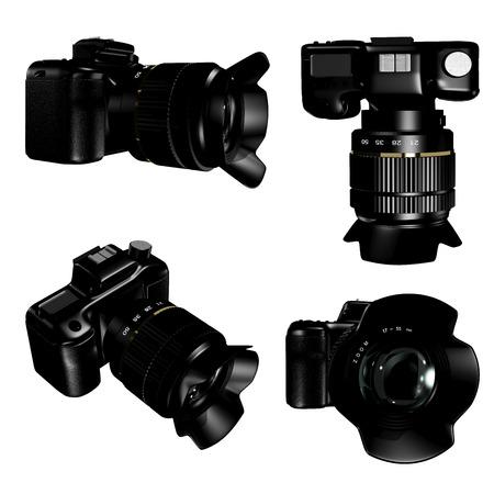 light reflex: 3d illustration of a camera in four species