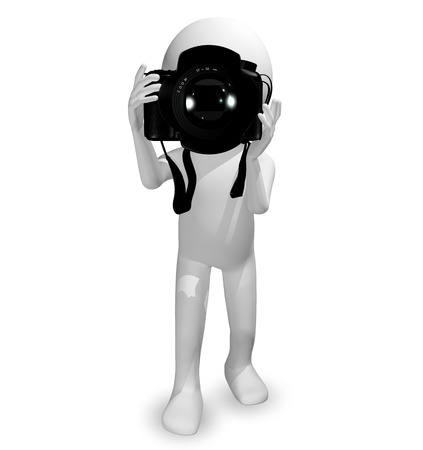 photoelectric: 3d illustration abstract man with a camera