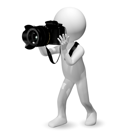 reflex camera: 3d illustration abstract man with a camera