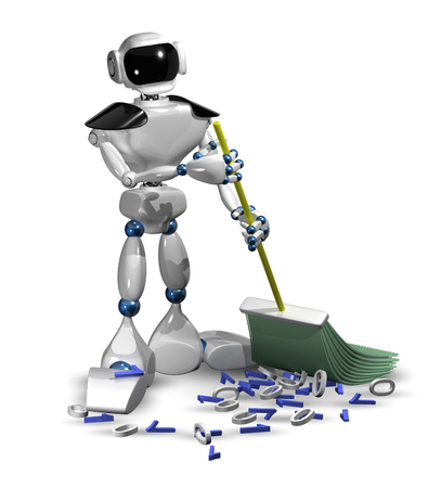 cleaning equipment: 3d illustration of a robot with a broom cleans digital garbage Stock Photo